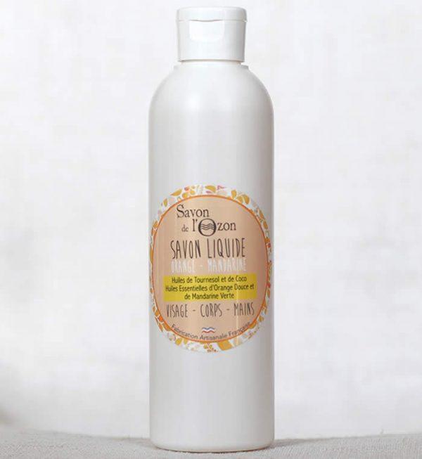 Savon liquide orange mandarine à base d'huiles de tournesol et de coco bio