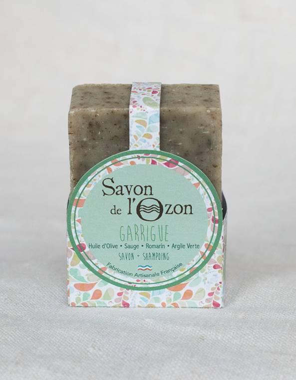 Savon shampoing solide pavé Garrigue à base de sauge romarin argile verte