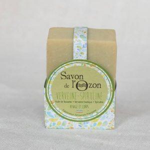 Cosmétique artisanal Savon solide pavé Verveine Spiruline emballé
